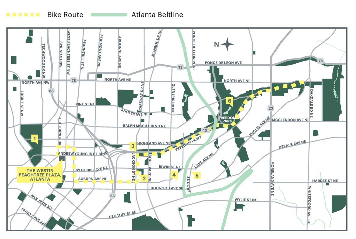 Atlanta Bike Tours - BikeWESTIN Bike route